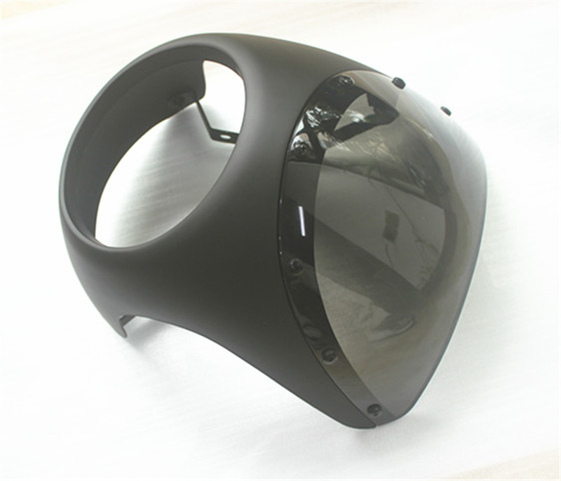 Cafe racer fairing Retro motosiklet mat siyah far fairing aynalar hood Vintage EVRENSEL fit 7 Far Gidon