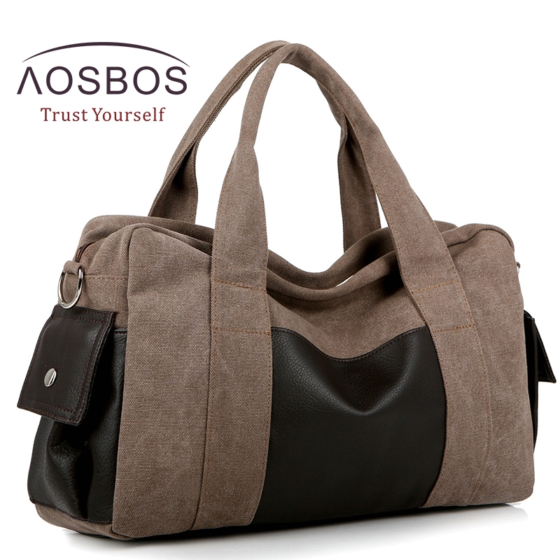 Aosbos Canvas Gym Bag Men Women Sports Bag for Fitness Outdoor Traveling Handbags Durable Multifunctional Training Shoulder Bag