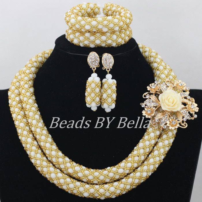 New Arrival White Gold Crystal Beads Braid African Wedding Beads Bridal Jewelry Set Nigerian Beads Necklace Free Shipping ABF288